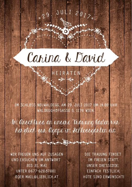 Carved Love, Holz, Einladung Zur Trauung U0026 Agape