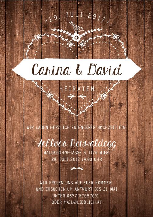 Carved Love, Holz, Einladung Zur Hochzeit
